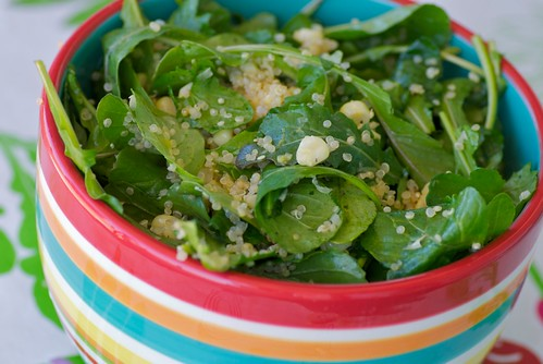 warm quinoa, corn, and arugula salad | by Food Blogga