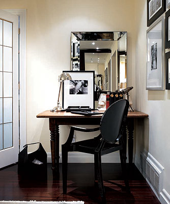 Ideas for small spaces beveled mirror benjamin moore 39 m for Mirrors for small spaces
