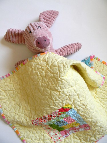 Lemon Sorbet doll quilt with piggy | by teaginny