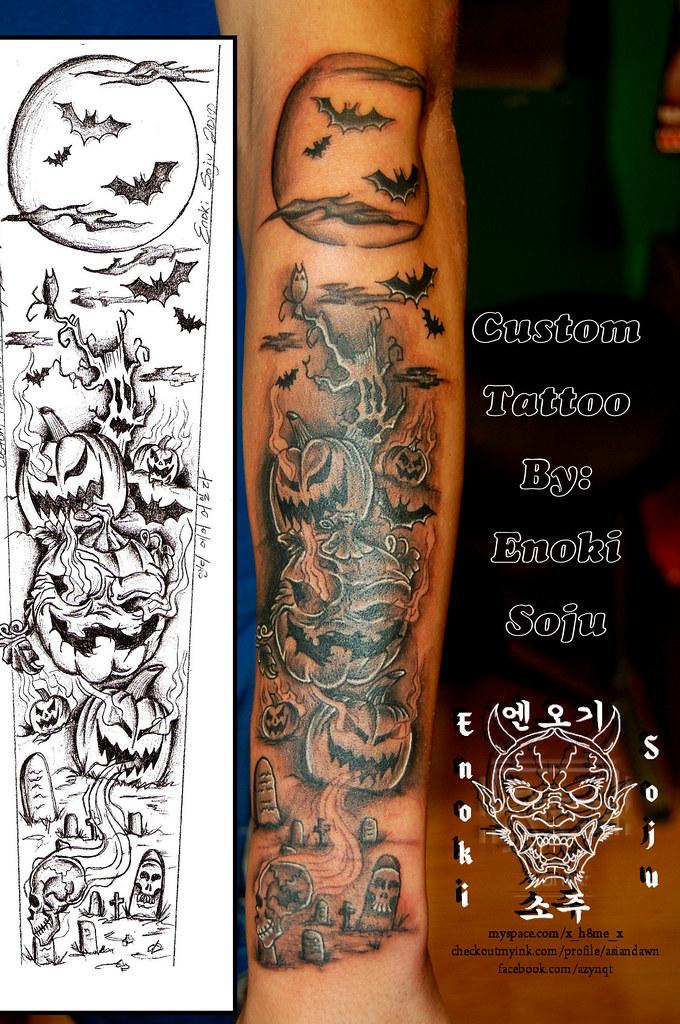 Custom Halloween Tattoo Sleeve   Pumpkins, Bats, Trees, SKul…   Flickr