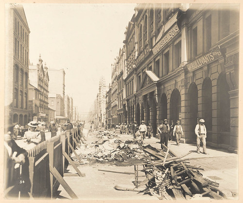 Kent-street from Views taken during Cleansing Operations, Quarantine Area, Sydney, 1900, Vol. I / under the supervision of Mr George McCredie, F.I.A., N.S.W. photographed by John Degotardi Jr. | by State Library of New South Wales collection