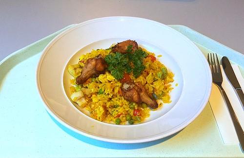 Spanish paella with fish, seafood & chicken / Spanische Paella mit Fisch, Meeresfrüchten & Huhn