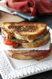 Grilled Cheese Sandwich with Jarlsberg Fondue, Ham & Tomato | by CookinCanuck