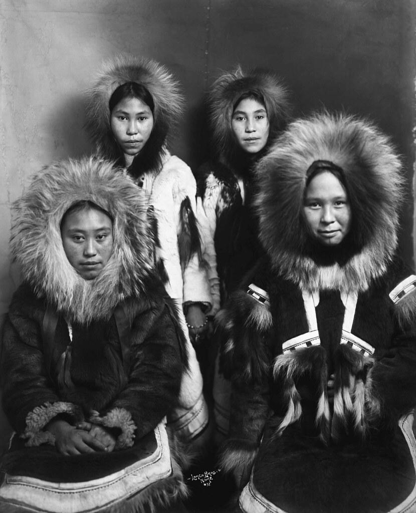 four inuit girls in fur parkas title four inuit girls in u2026 flickr