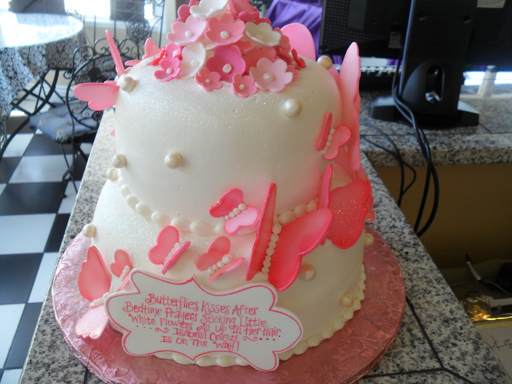 Butterfly Baby Shower Cake By