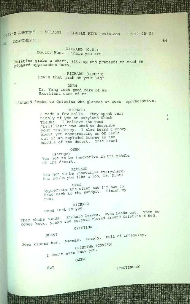 AUTOGRAPHED Grey\'s Anatomy Script 501/5012 - first kiss sc… | Flickr