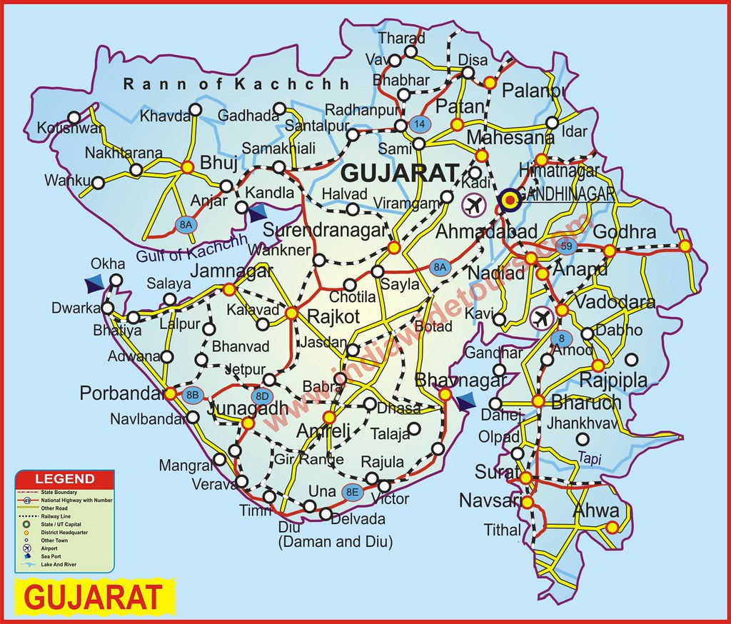 Gujarat map of india tourist map of india map of arunachal flickr gujarat by india wide tours gumiabroncs Choice Image