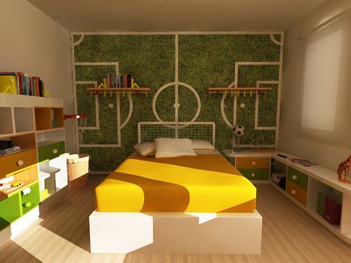 Dise o de habitacion infantil tematica deportiva mobiliar - Diseno habitacion infantil ...