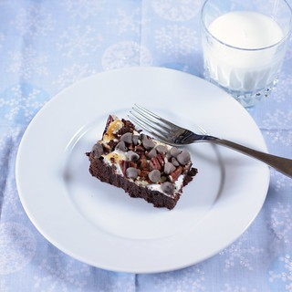 brownie and glass of milk | by Madison Bistro