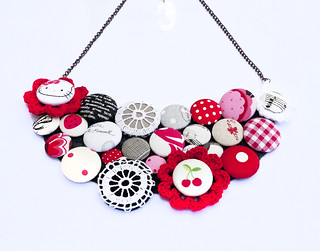 black white red button necklace | by Katarina Roccella
