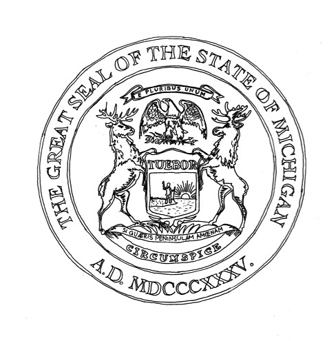 Michigan State Seal Coloring Page Www Picturesso Com