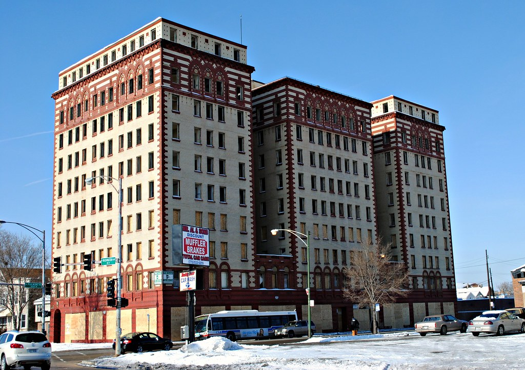 small old apartment building.  Old apartment building on Pulaski north of Madison Chicago by Cragin Spring Chicag Flickr