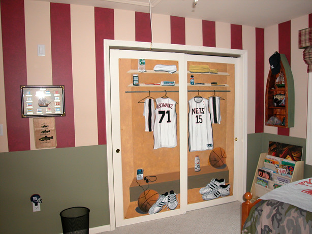 We Created Panels For The Closet Doors, Painted To Look Like A Locker Room.