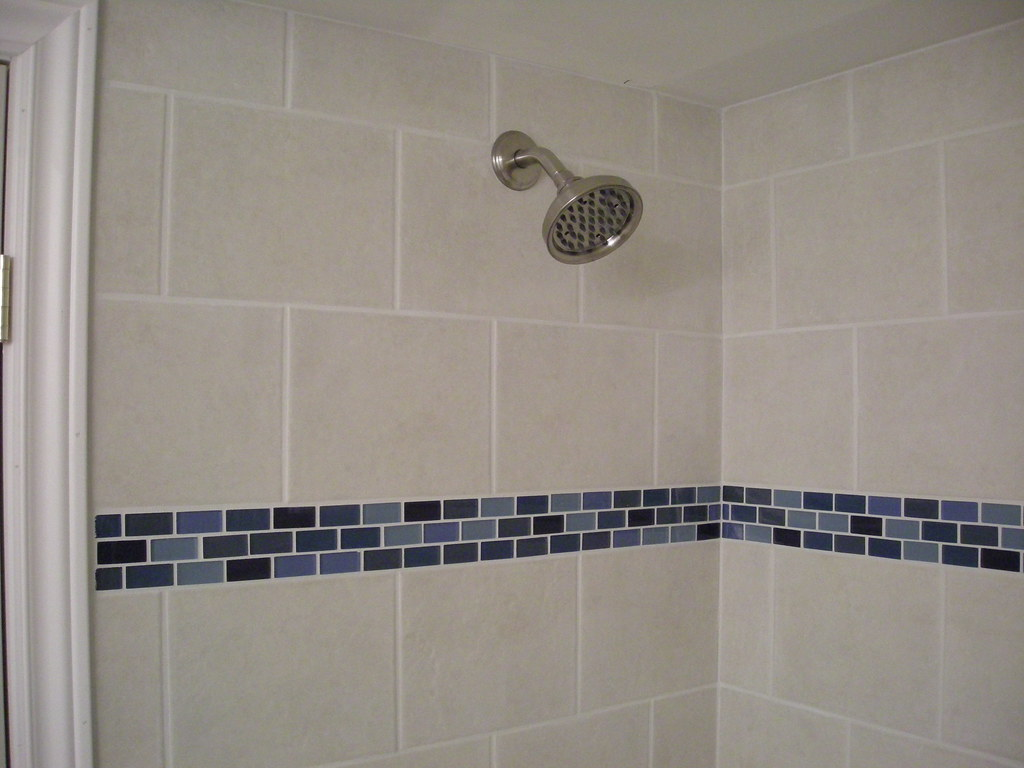 Ceramic tile shower stall with glass border detail flickr ceramic tile shower stall with glass border detail by kingslandscaping dailygadgetfo Image collections