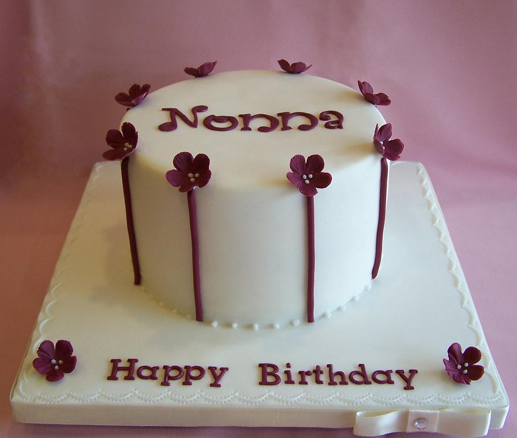 Elegant Birthday Cake 6 Birthday Cake With Burgandy Accen Flickr
