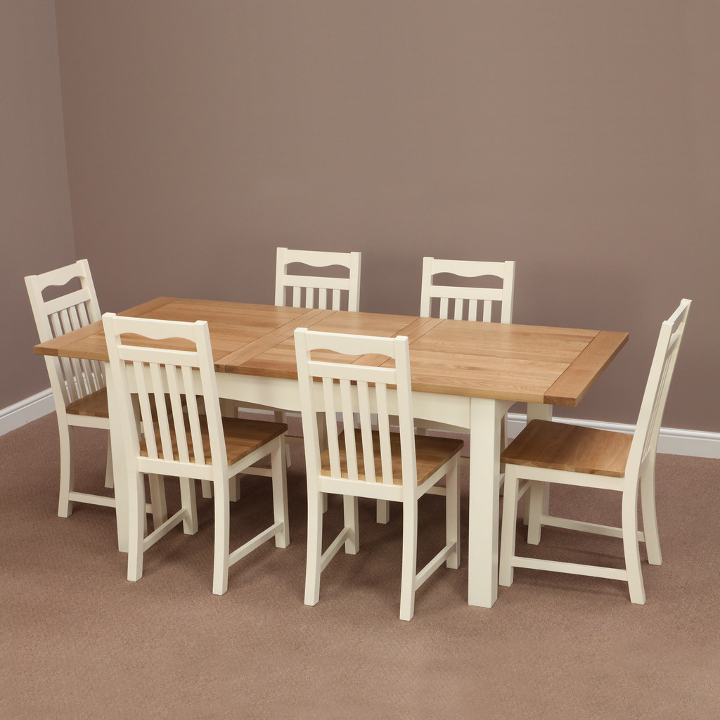 Cotswold Cream Painted Solid Oak Extending Dining Table 6 Chairs