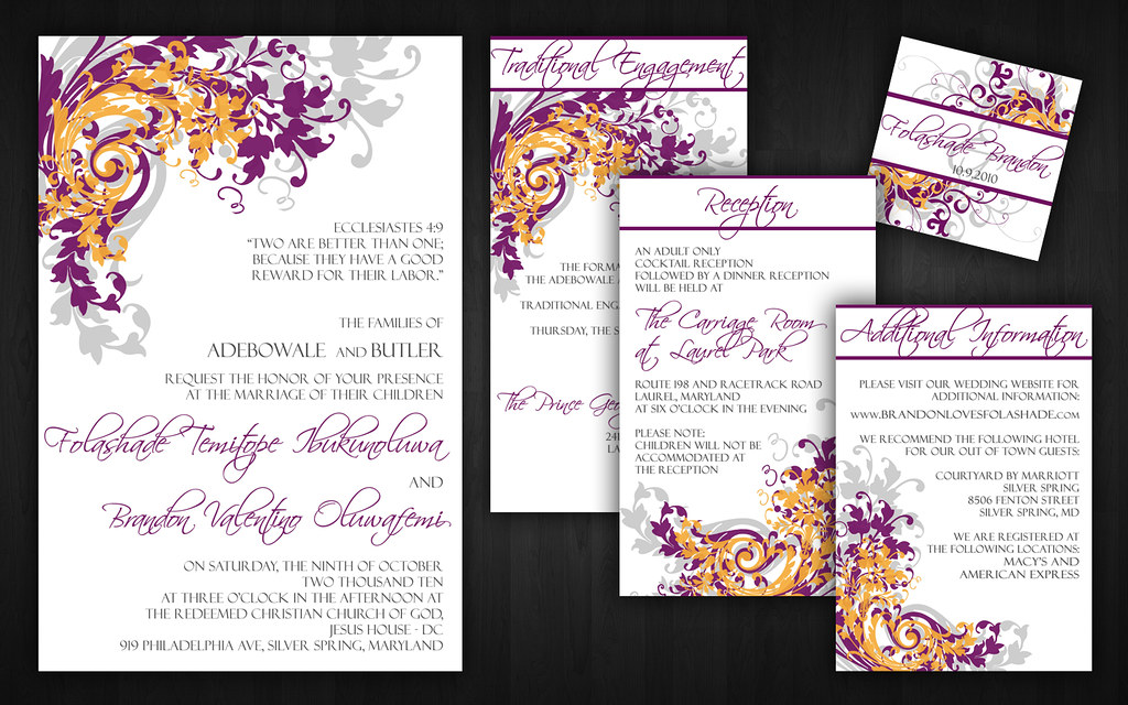 Purple and Orange Wedding Invitations | Please contact me fo… | Flickr