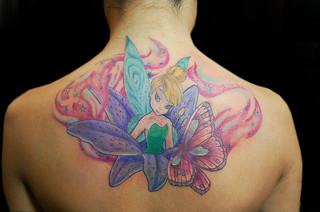 Tinkerbell tinker bell flower butterfly james danger pain for Painful pleasures tattoo