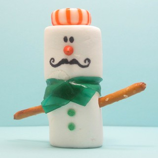 mustachioed marshmallow snowman 3 | by thedecoratedcookie