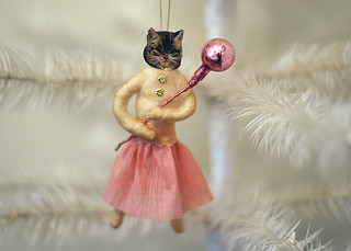 Spun Cotton Cat Ornament Dressed in Pink | by oldworldprimitives