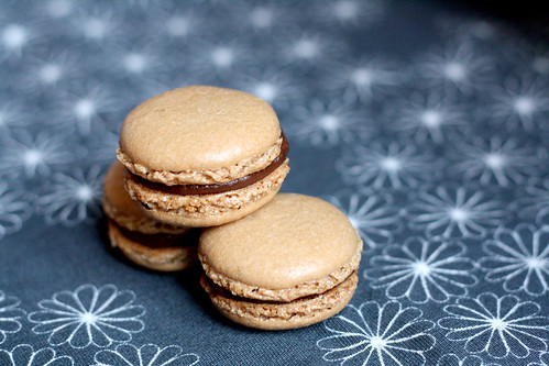 Espresso macarons filled with dark chocolate ganache | by eselcee