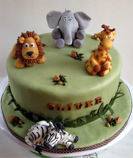 Safari Animal Theme Birthday Cake