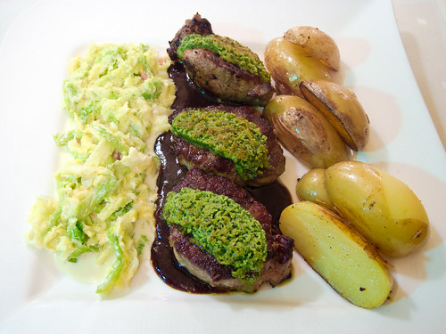 herb crust topped wild boar loin steak with red wine onion. Black Bedroom Furniture Sets. Home Design Ideas