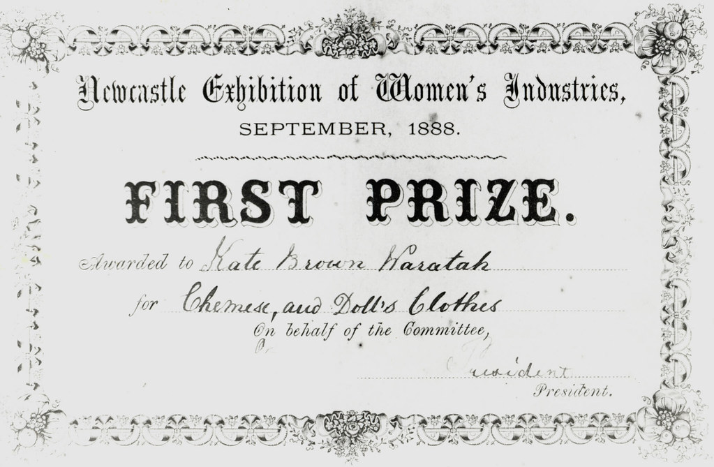 First prize certificate of the Newcastle Exhibition of Wom – First Place Award Certificate