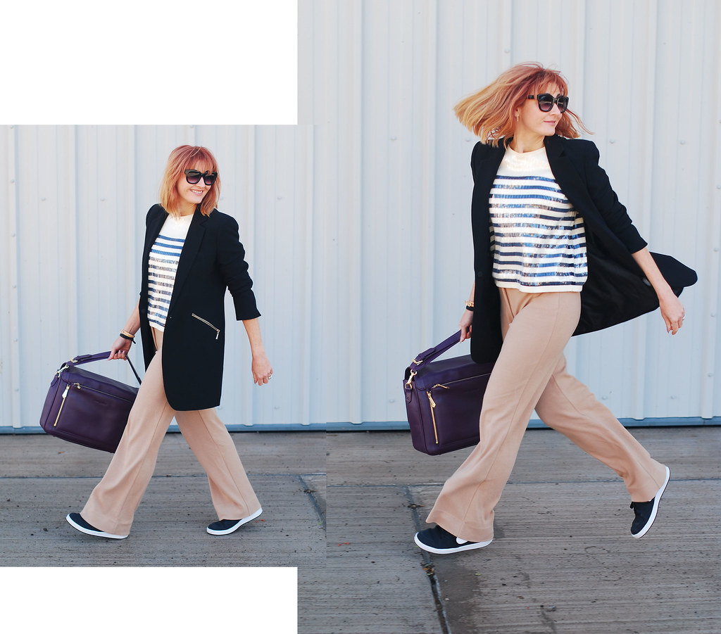 How to Style Sequins as Workwear: Sequinned Breton top, camel wide leg trousers, black blazer   Not Dressed As Lamb, over 40 style