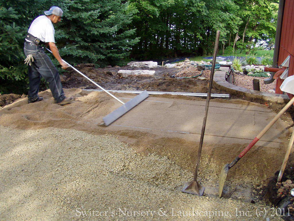 ... Privacy Pergola And Paver Walk   During Installation Of Leveling Sand  Course For Paver Patio |
