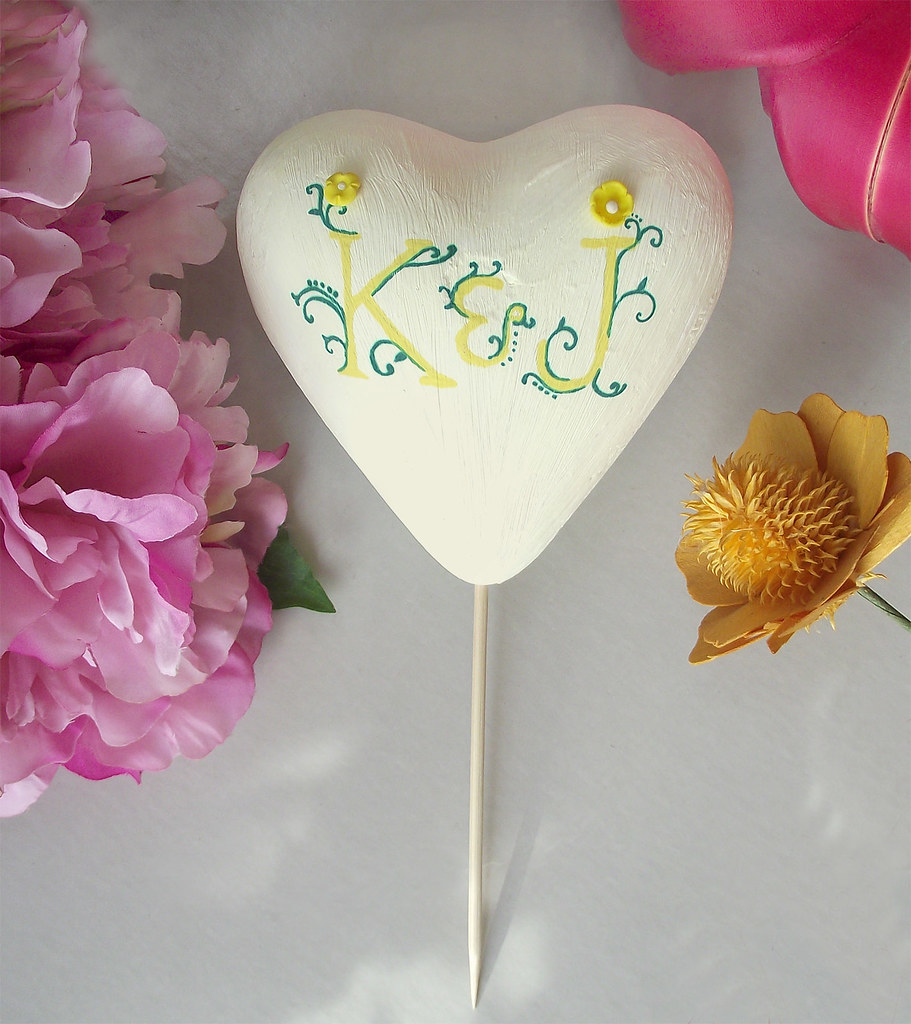 unique floral yellow heart wedding cake topper persona flickr