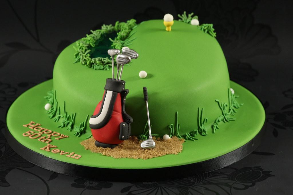 Golf Theme Cake Made for a golfers 50th birthday Im maki Flickr