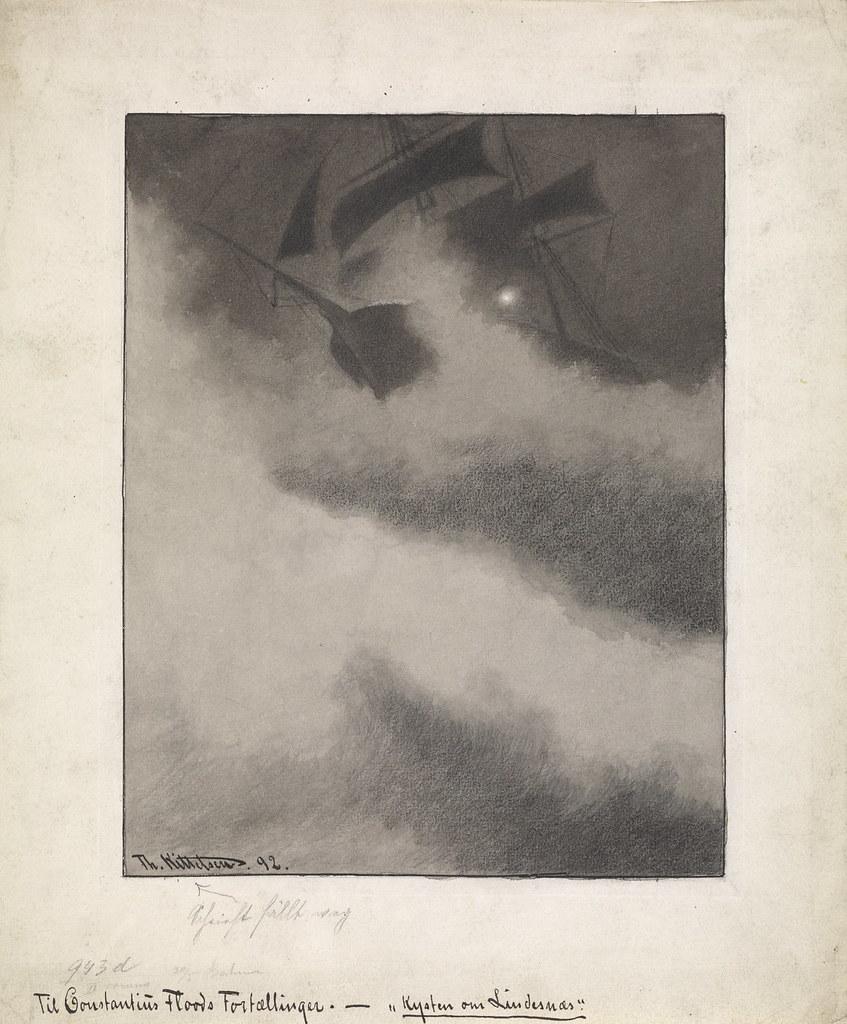 "Theodor Kittelsen - The Ship ""Albatros"" in Storm. (The Mermaid Rock) 1892"