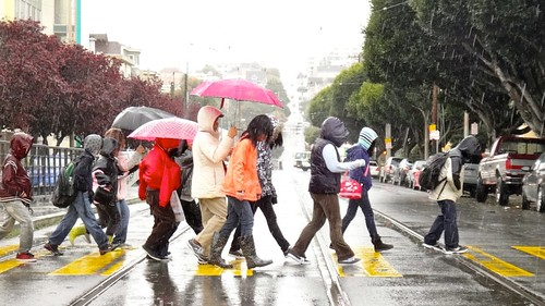 School Kids Crossing Church Street in Rain | by Lynn Friedman
