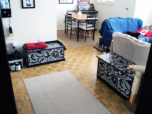 litter box benches when we moved into this apartment i re flickr. Black Bedroom Furniture Sets. Home Design Ideas