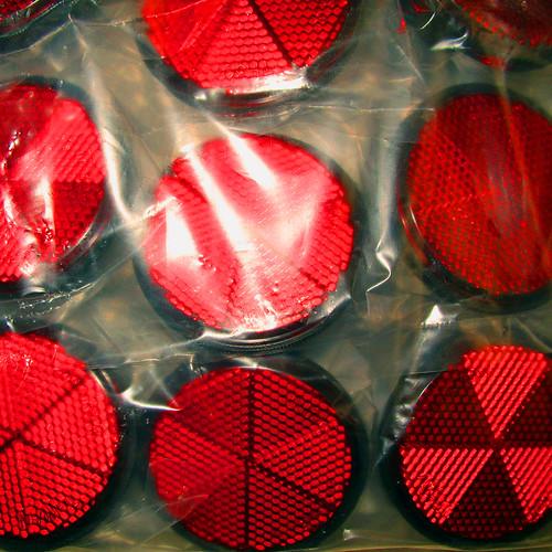 3d Red Reflectors : Red reflectors in a clear plastic bag