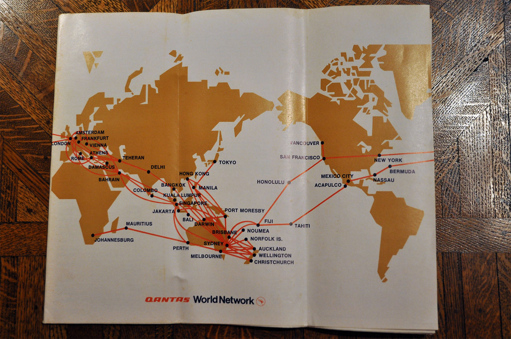 Qantas Route Map 1973 by