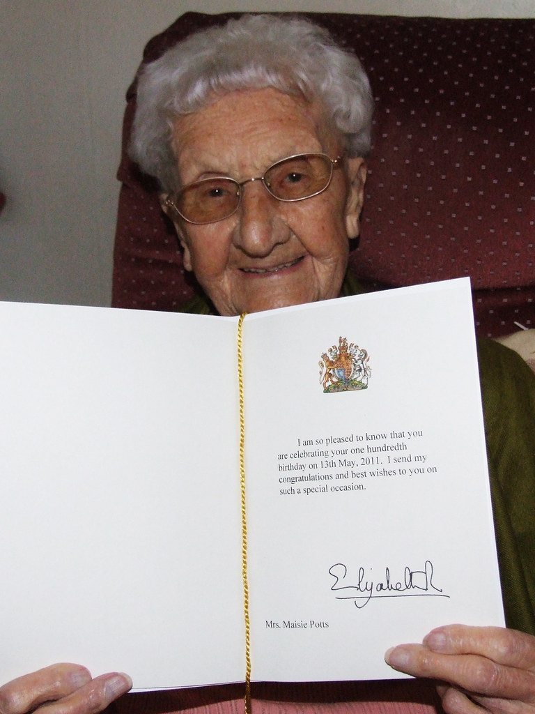 Birthday card from the queen my gran with her 100th birthd flickr birthday card from the queen by deadheaduk bookmarktalkfo Choice Image