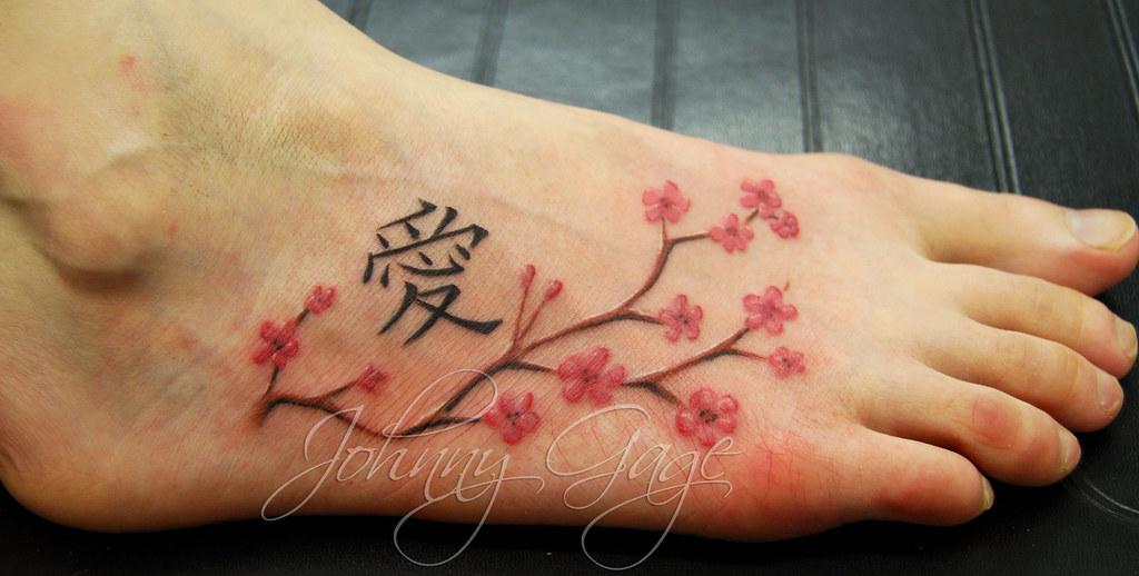 Cherry Blossom Foot Tattoo Tattooed By Johnny At The Tatt Flickr