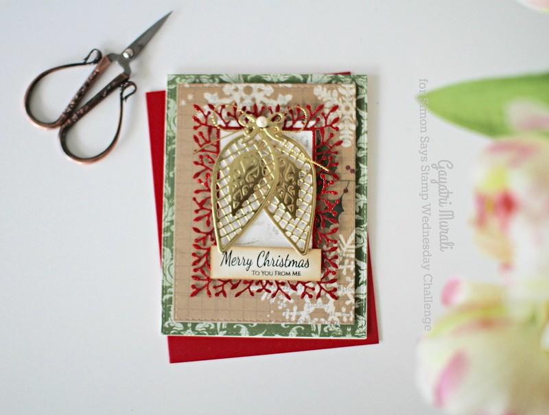 Green Merry Christmas card flat