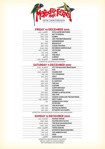 MMF2010 Playing Times | by Aunty Meredith