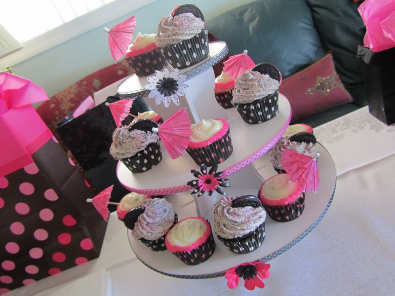 ourladyofcupcakes pink and black polka dot bridal shower cupcake tower by ourladyofcupcakes