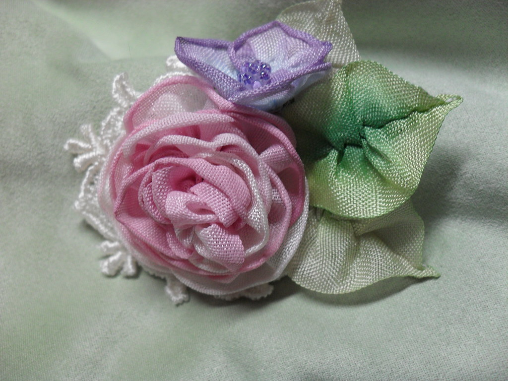 Ribbon Rose Pin Millinery Flowers Ribbon Art Silk Flickr