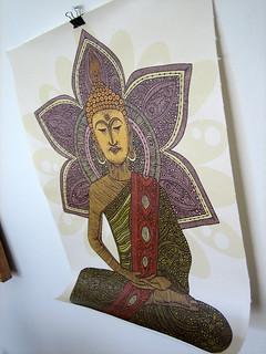 Sitting Buddha 11x14 print on thick Canvas Material | by valentinadesign