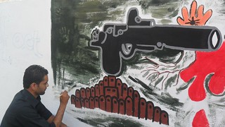 Week of Action Against Gun Violence 2011 - Palestine - Youth drawing mural in Gaza | by IANSA - Global Movement Against Gun Violence