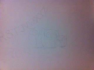 The mural so far - outline drawing of a family of owls | by Maiboo