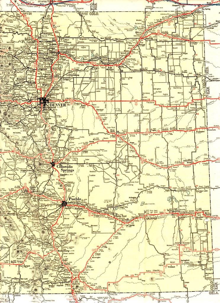 1932 Texaco Road Map   Highway map of Eastern Colorado   Jasperdo ...