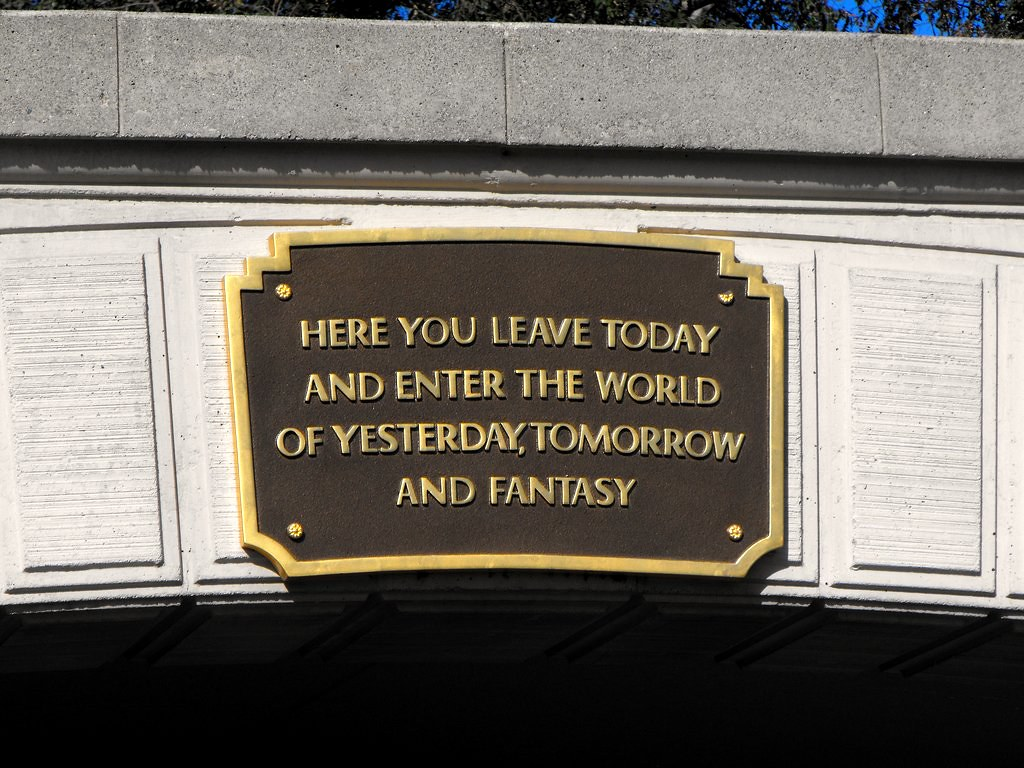 walt disney quote above disneyland entrance tunnel by disney1240