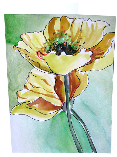 Hand painted poppy watercolor greeting cards flower note c flickr hand painted poppy watercolor greeting cards flower note card golden poppies by botanical watercolor hand m4hsunfo