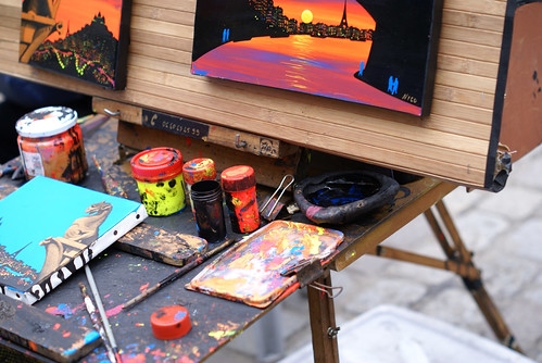Paints and Palette of Parisian artist in Place du Tertre | by Ju1ian